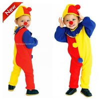 2016 new Children Kids Baby Yellow Red Blue Spliced Romper+Hat+red nose Halloween Carnival Clown Circus party Cosplay Costumes halloween costumes clown dressed up acting cute nose red