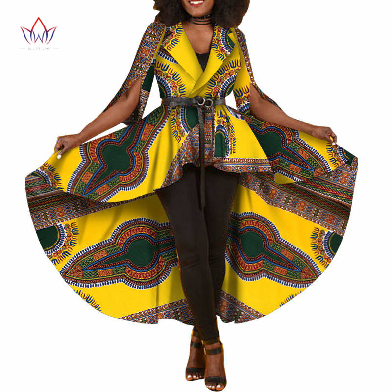 2018 New African Dashiki Print Dresses for Women   Trench   Women Maxi Outwear   Trench   Coat Womens Dashikis Brand Clothing 6XL WY1812