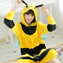 Small Bee Cartoon Animal Lounge Cosplay Costume Bee Pajamas Flannel Onesies Adult Cartoon Sleepwear Pyjamas For Party Clothes