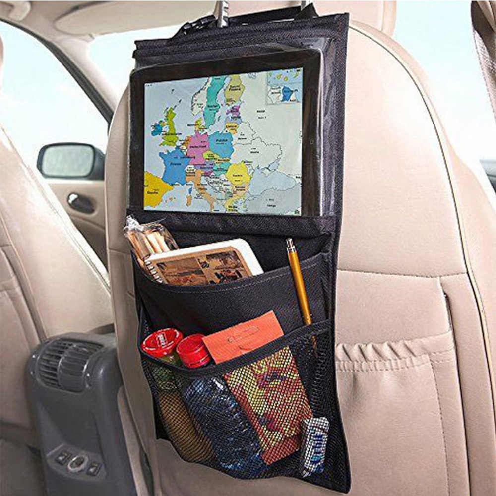 Nylon+PVC Fabric car seat organizer Truck Back Seat Chair Multi Pocket Auto Storage Bag WithTouch Screen Film