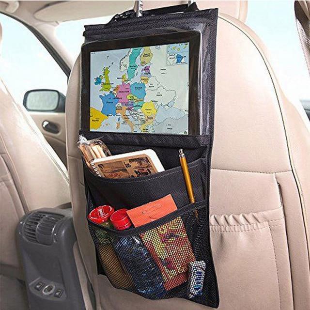 Nylon+PVC Fabric car seat organizer Truck Back Seat Chair Multi Pocket Auto Storage Bag WithTouch Screen Film