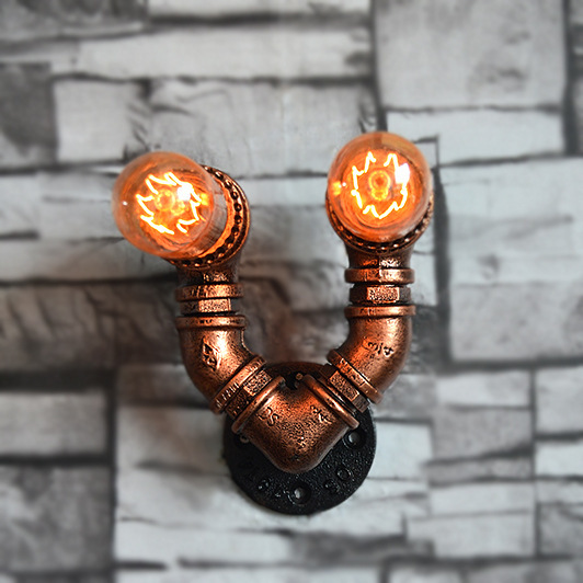Loft retro Cafe industrial wind decoration wall lamp restaurant bar iron pipe wall lamp loft retro iron pipe study industrial wind cafe theme hotel restaurant bedroom corridor lamp fashion table lamps sg6