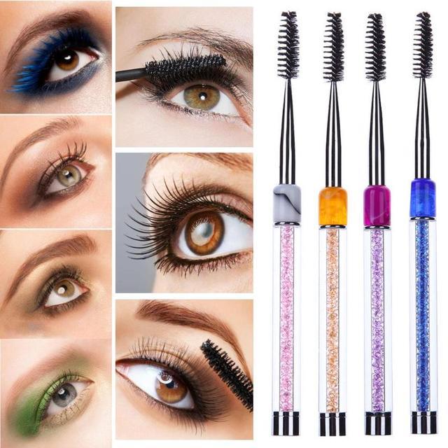 1pcs Eyebrow Brushes Eyelashes Brushes Beauty Makeup Tools Radian Adjustable Transparent Diamond Handle Eyebrow Lash Comb Brush