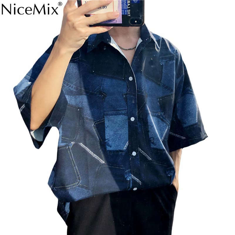 NiceMix 2019 Jeans Painting Blouses Female Long Sleeve Turn Down Collar Shirts Spring Autumn Casual Loose Women Blouse