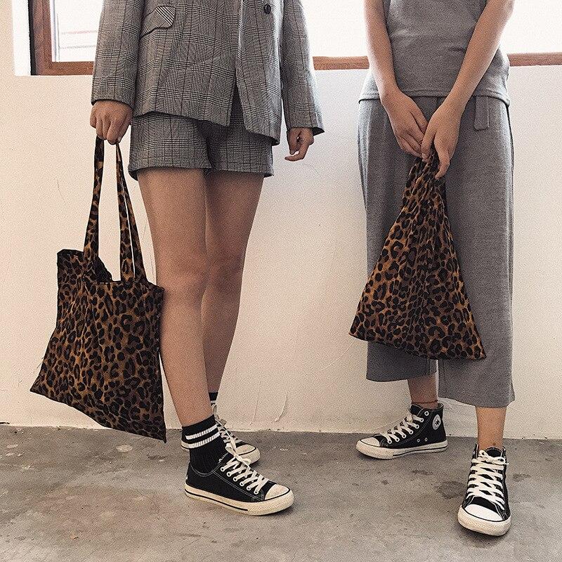 Bolsala de Compras Yile Nova Moda Marrom Leopardo Algodão Lona Eco Bolsa Colete By94e