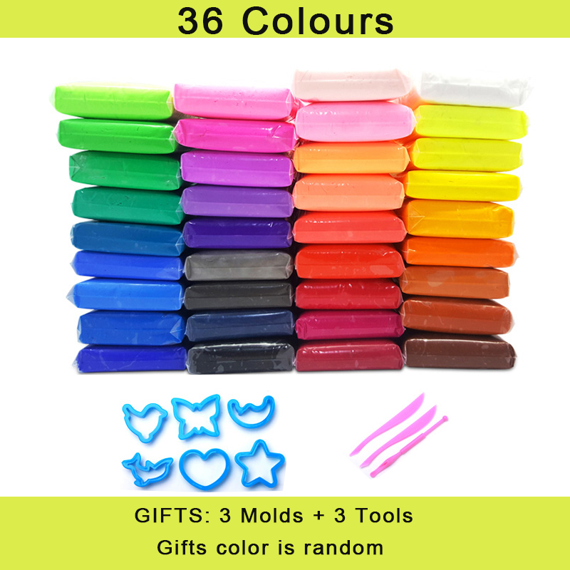 36pcs/set DIY clay safe and nontoxic Malleable Fimo Polymer Clay playdough Air Clay Polymer Plasticine Modelling Clay Slime