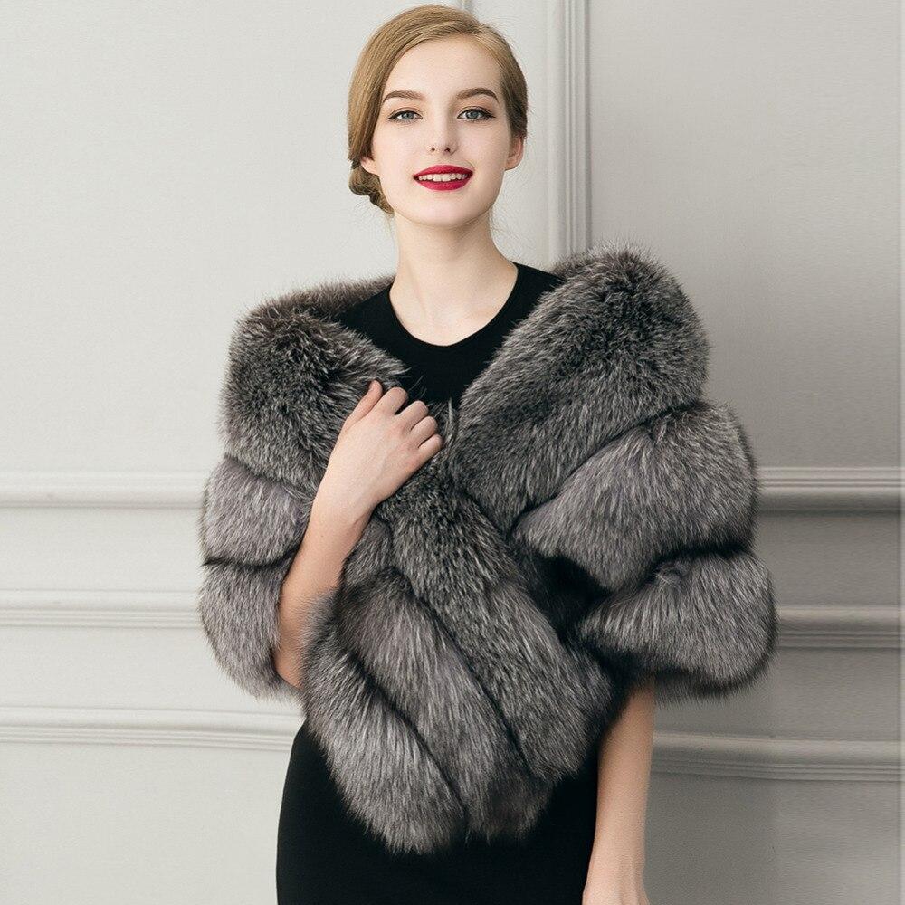 Liva Fille de Femmes faux Col De Fourrure Châle Gris Couleur Doux Imité Écharpes en Fourrure De Renard Sexy de Mode D'hiver de Dame grand Châle
