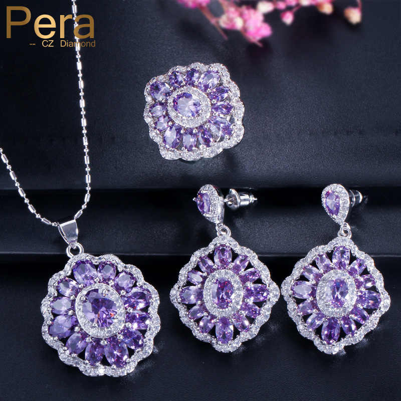 eea8d7fb5ea74 Pera CZ Elegant Design Big Square Austria Crystal Stone Purple 3 Piece 925  Sterling Silver Jewelry Sets For Women Gift J164