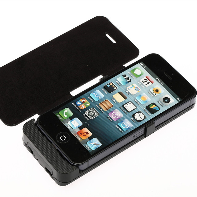 2800mAh External Backup Battery Charger Powerbank Case PU Leather Flip Cover Capa for iPhone 5 5S Black & White