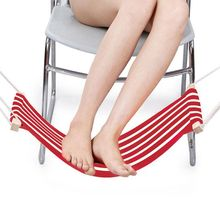 цена на Portable Adjustable Mini Office Foot Rest/Foot Stool Stand Desk Foot Hammock (Red and White Stripes)