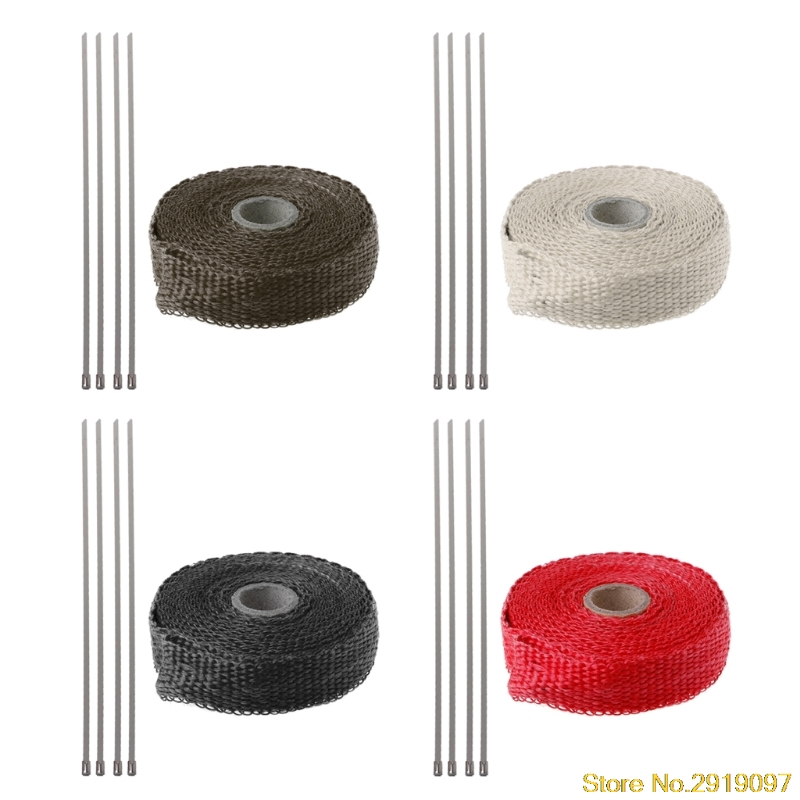 5M Car Motorcycle Turbo Manifold Heat Exhaust Wrap Tape Thermal Stainless Ties Drop Shipping Support