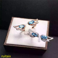 KJJEAXCMY fine jewelry 925 sterling silver inlaid with blue topaz ring jewelry opening.