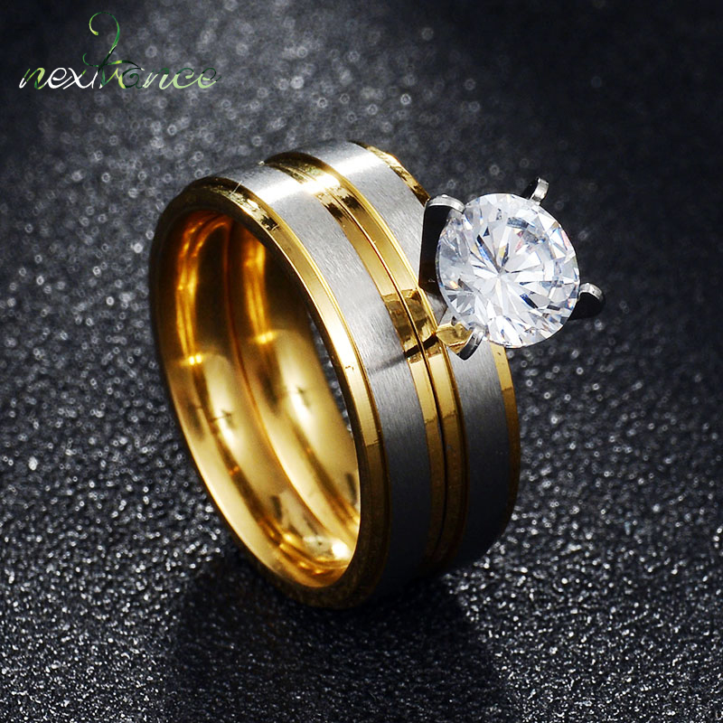 Nextvance Brushed Rings Wedding-Band Gold-Line Anniversary Matte Cz-Stone Round Men Women