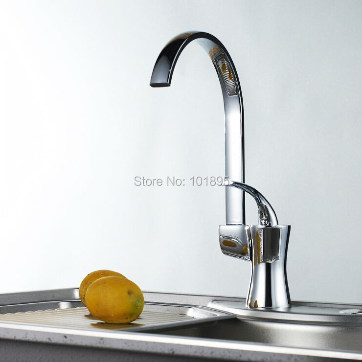L16851 Chrome Finishing Brass Material Deck Mounted Kitchen Faucet