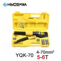 Pressão hidráulica da escala 4-70mm2 da ferramenta de compressão YQK-70 do alicate de friso hidráulico da ferramenta de friso hidráulica do talão do cabo 5-6 t