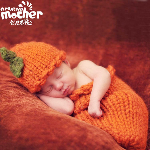 Worsted Solid Carrot Design Newborn Baby Photography Props Orange Yellow Baby Cosplay Stage Props Sleeping Bags