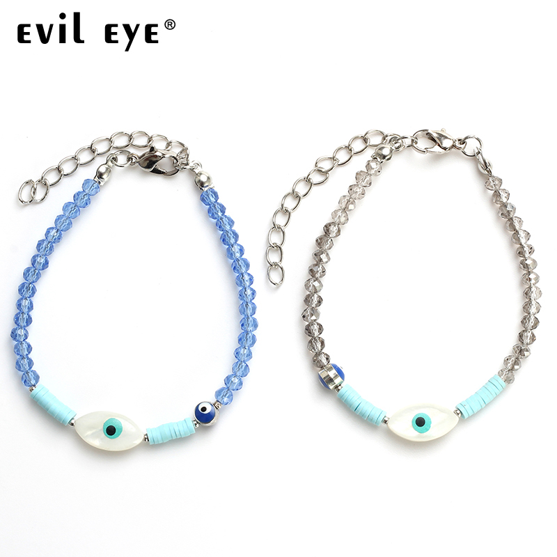 EVIL EYE 2018 Fashion Crystal Beads String bracelet With Two Blue Evil EYE Beads As Gift For Women jewelry Bracelets EY4651