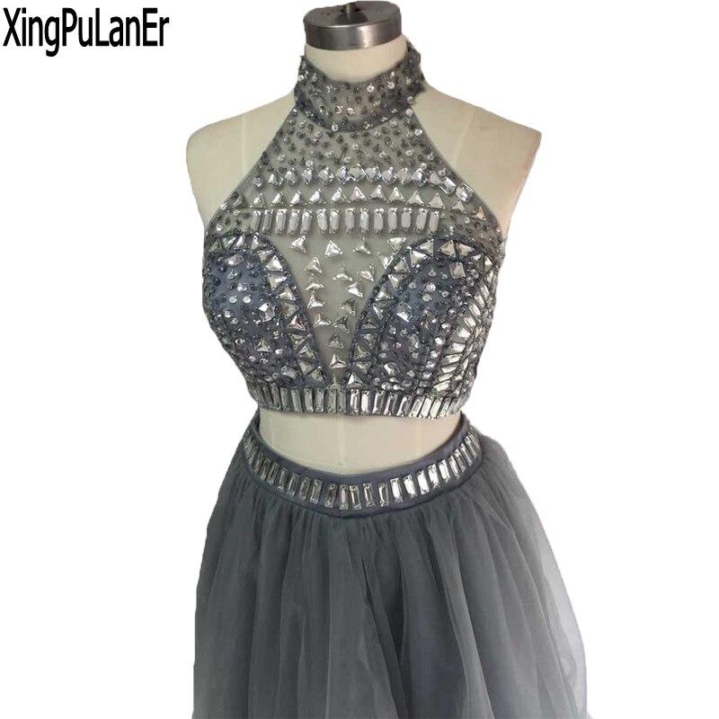 Robe de festa A Line licou sans manches argent perles cristaux gris Organza courte dos ouvert robes de bal 16 robe de retour