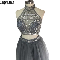 Vestido de festa A Line Холтер без рукавов серебро бисером кристаллы серый органза короткое нарядное платье с открытой спиной Платья 16 платье для вып