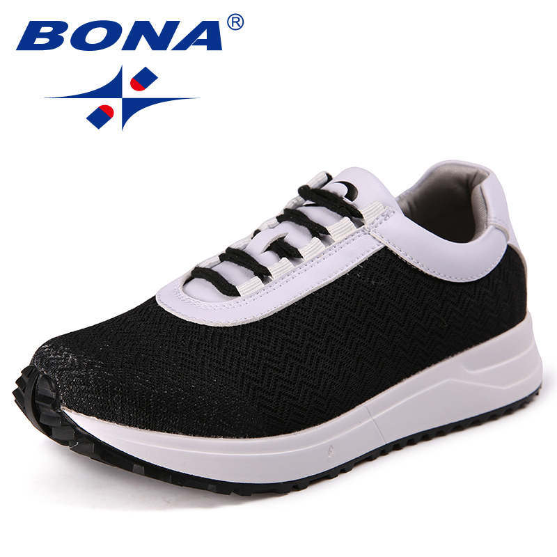 BONA New Classics Style Women Sneakers Shoes Lace Up Femme Comfort Shoes Mesh Female Casual Shoes Sapato Feminino Zapatos Mujer royyna new cute design women sneakers shoes flower femme casual shoes mesh lady flats outdoor chaussure femme zapatos mujer