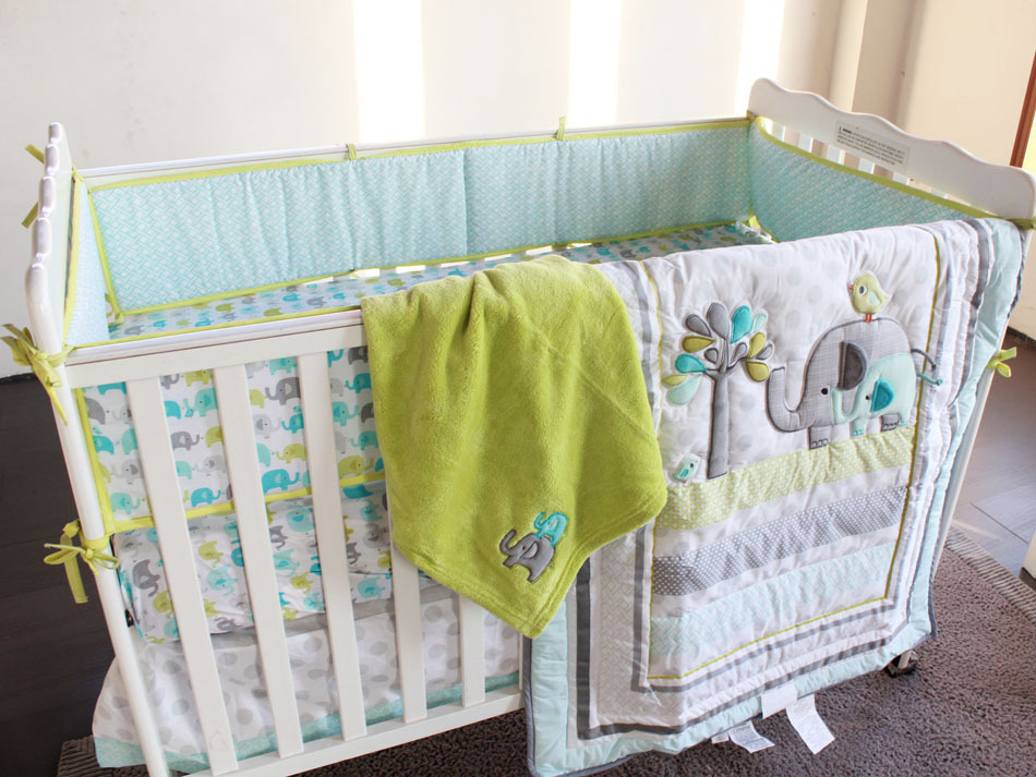Ligth Green Elephants Baby Boy 5pc Crib Bedding Set Embroidered Lique Quilt Pers Ed Sheet Blanket Kit Bebe In Sets From Mother Kids On