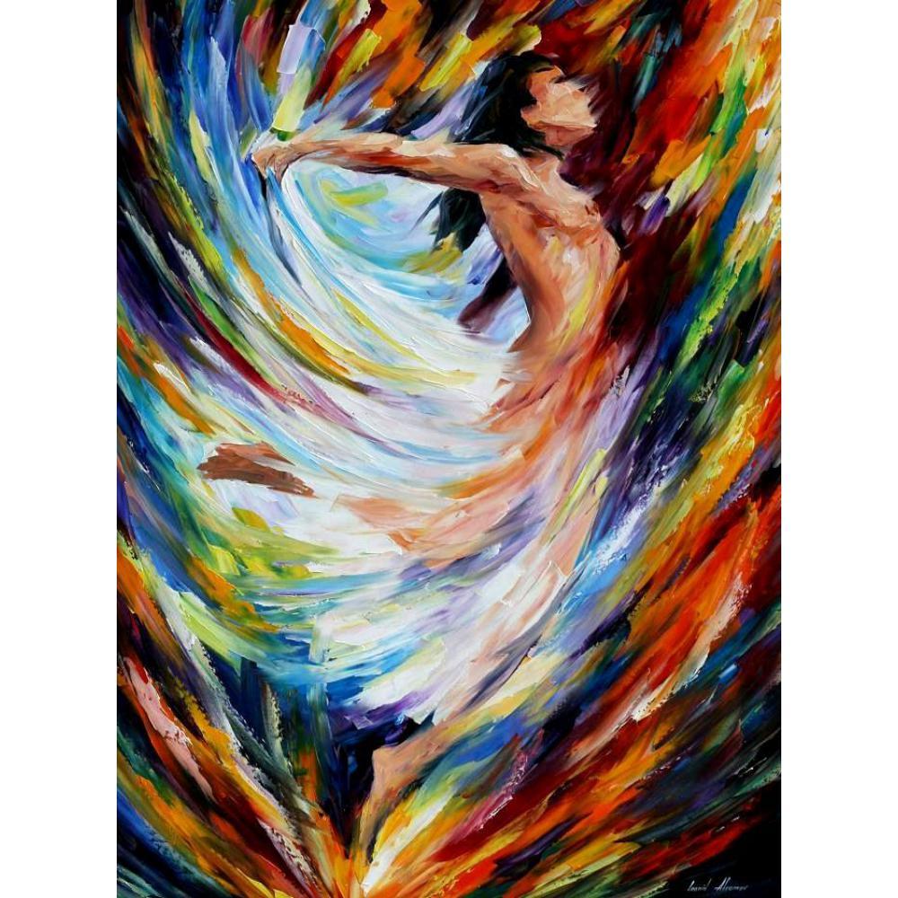 Palette knife oil painting figure women angel flight