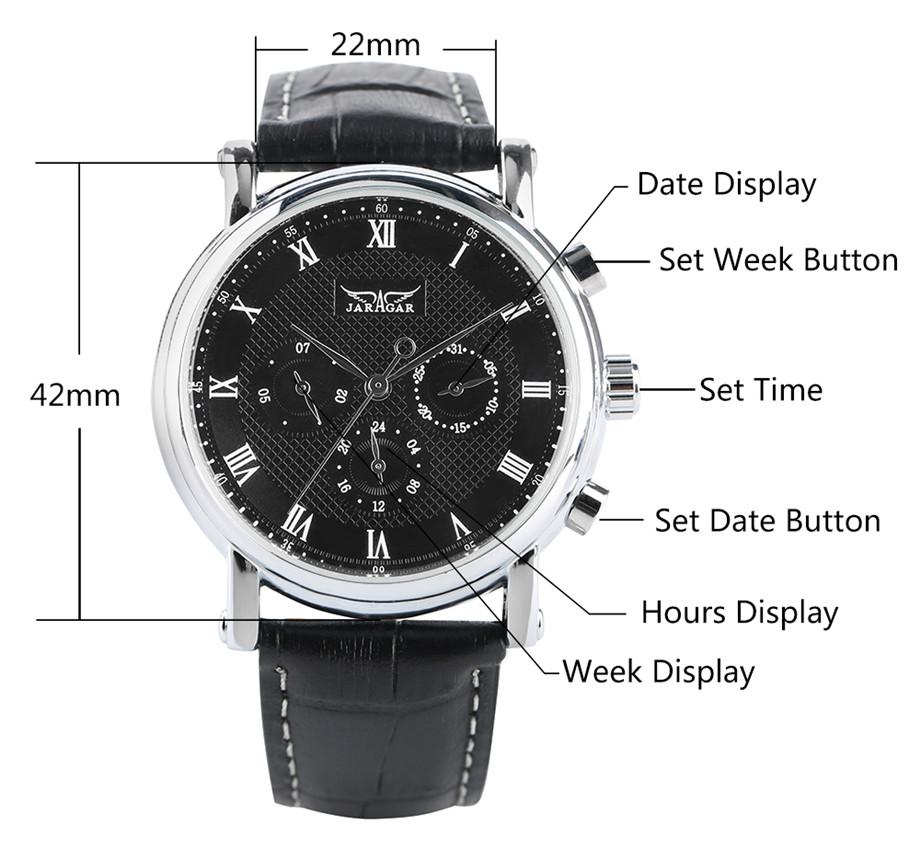 JARAGAR black genuine leather band mechanical watch men14