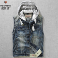 2016 New Men's spring and autumn small slim vest with a hood denim vests sleeveless denim jacket male vintage kaross waistcoat