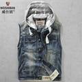 2016 New Men's spring and autumn small slim vest with a hood denim vests sleeveless denim jacket male vintage kaross waistcoat