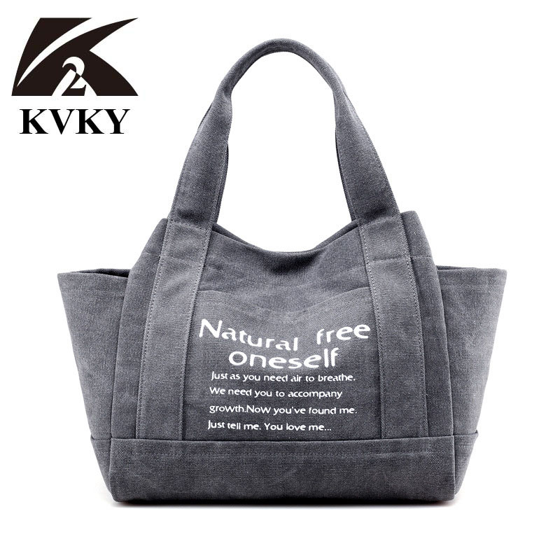 KVKY Vintage Women Canvas Bag Brand Fashion Casual Large Capacity Hobos Bag Ladies Shopping Tote Bag Trapeze Letter Shoulder Bag kvky vintage woman canvas handbags large capacity casual tote women shoulder bag brand messenger bags ladies shopping bag bolsa