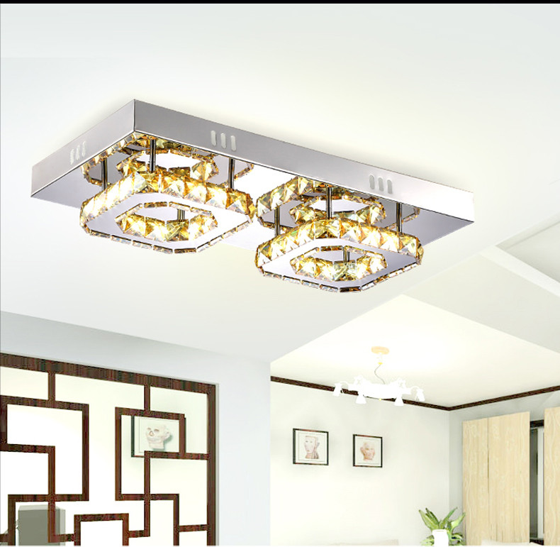 Modern Square Bedroom LED Aisle Ceiling Lamp Crystal Home Decor Ceiling Light Aisle Balcony 28W Warm White (3500-4500K) Fashion