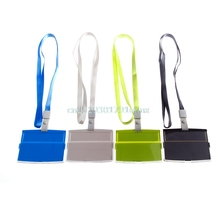 Vertical Transverse Clear Plastic ID Name Card Holder Work Badge Lanyard New ABS