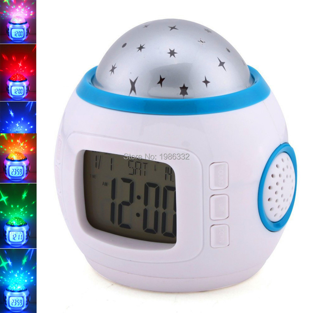 1 Pc Music Starry Star Sky Digital Led Projection Projector Alarm Clock Calendar Thermometer Worldwide Clocks Alarm Clocks