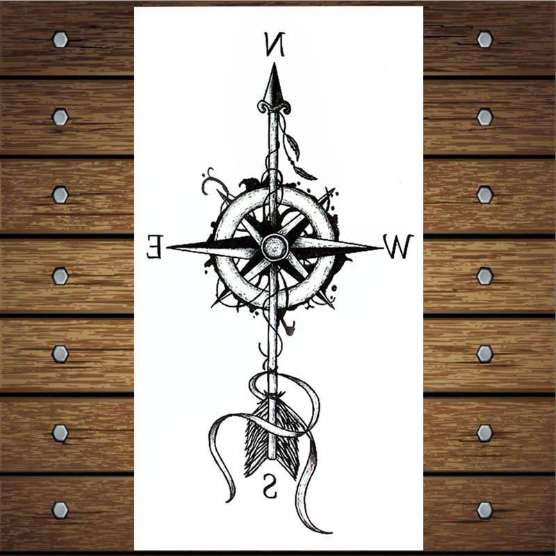 Y-XLWN Compass Pattern Men's Creative Stickers Ladies Temporary Tattoo Disposable Waterproof Tattoo Stickers Wall Stickers