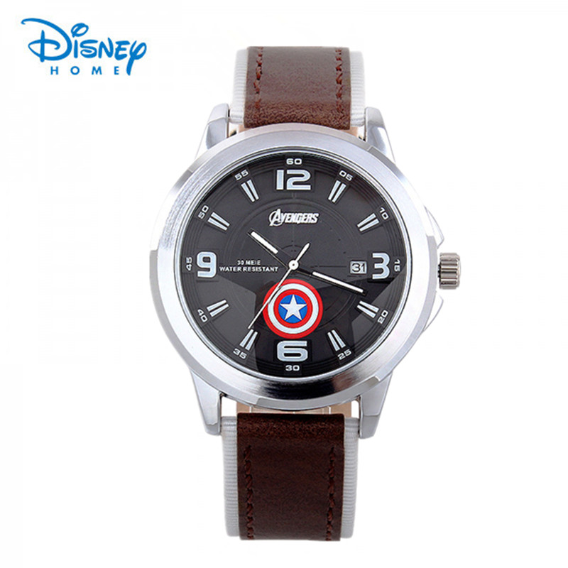 100% Genuine Disney Avengers Weilin Men watch Captain America movie theme men quartz wristwatch hero leather Kids boy clock