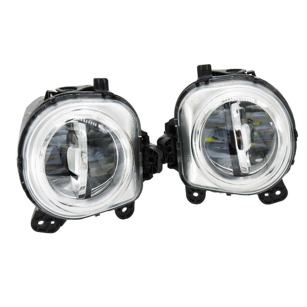 2Pcs For BMW X3 F25 X4 F26 X5 F15 X5 M F85 X6 F16 X6 M F86 Front LED DRL Fog Light Fog Lamp Assembly pair gloss matt black m color front kidney racing bumper grille grill for bmw x5 f15 x6 f16 x5m f85 x6m f86 2014 2015 2016 2017