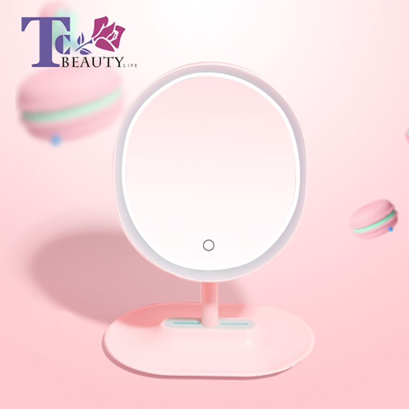 Portable Makeup Standing Mirror LED Light Hand Desktop Mirrors Vanity Table Compact Cosmetic Round Lamp Cosmetic Tools все цены