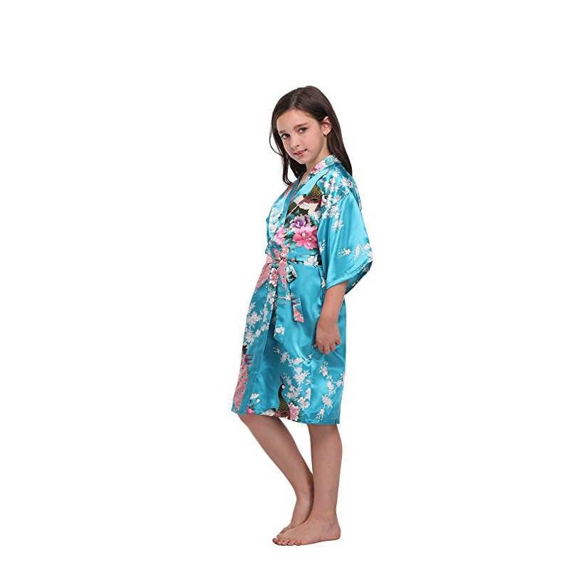 Trẻ em Girls 'Mềm Peacock & Blossom Kimono Áo Choàng Áo Choàng Bridesmaid Flower Cô Gái Ăn Mặc Mượt áo choàng tắm trẻ em Áo Ngủ Kimono áo