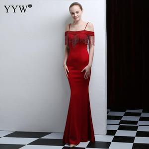 Image 5 - 赤ビーズタッセルロングマーメイドドレス夏の女性のオフショルダーフォーマルガウンスパゲッティストラップエレガントクラブパーティードレス