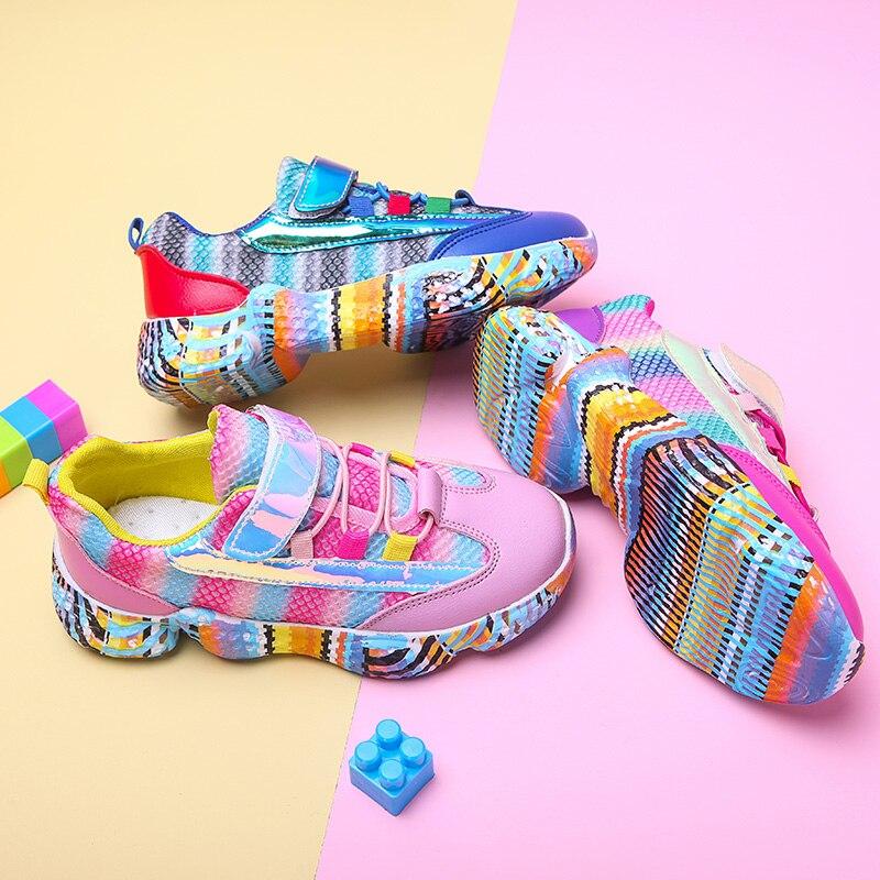 Весенняя детская обувь Красочные Детские Девочки Мальчики кроссовки, мягкая подошва удобные дышащие Мальчики Девочки Спортивная обувь Размер 26 36