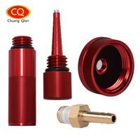 4pcs Red Upgrade Extended Run Gas Cap W Brass Hose Fitting Oil Funnel Magnetic Dipstick For
