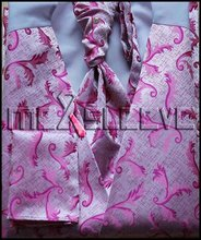 Hot seller!!! man's formal suit pink wedding waistcoats 4pcs