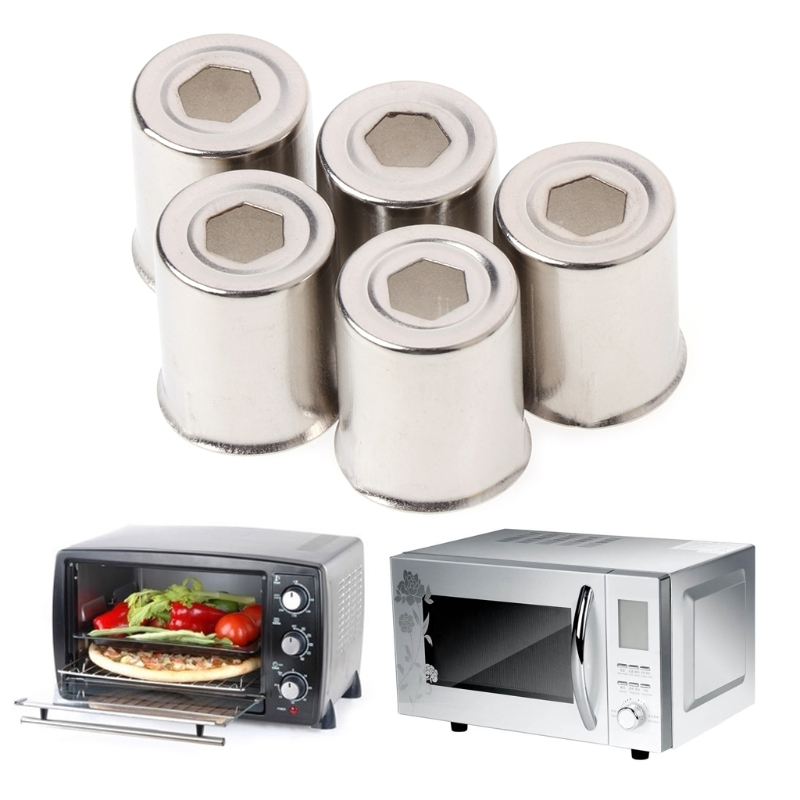 5Pcs/Set Steel Cap Microwave Oven Replacement Round Hole Magnetron Silver Tone For Home Kitchen 17*14.5mm