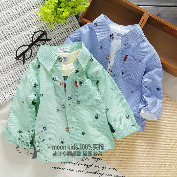 Весенне-осенняя одежда для детей рубашка с длинными рукавами для мальчиков рубашка из чистого хлопка для маленьких мальчиков рубашка с длинными рукавами с рисунком для малышей