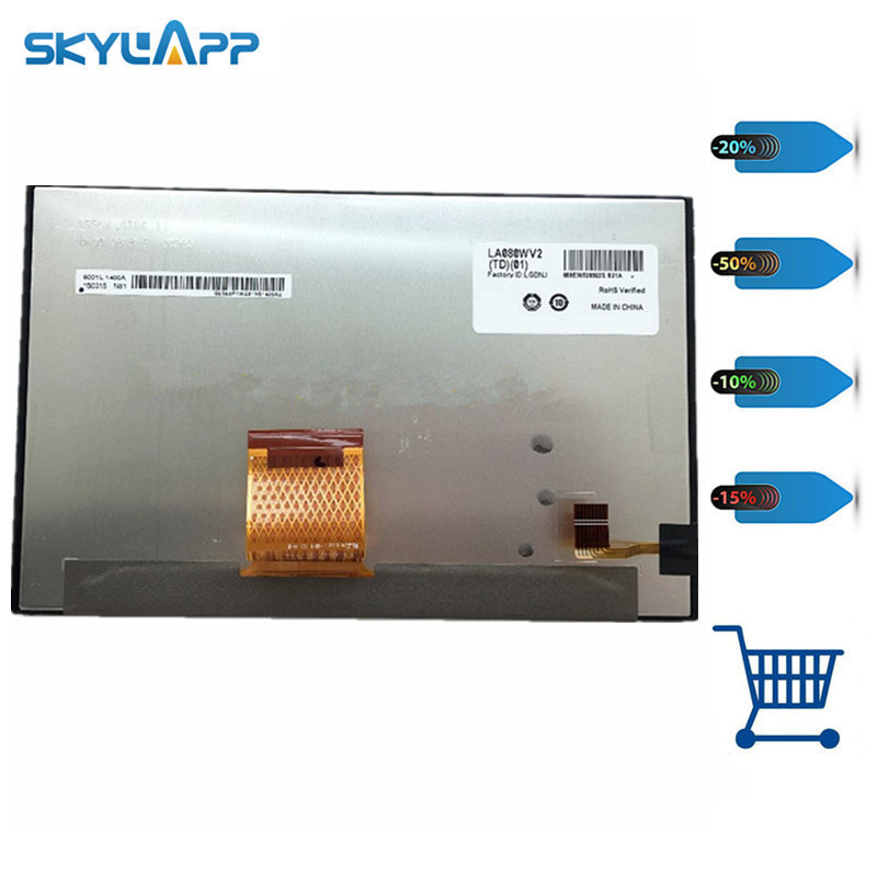 Skylarpu 8 inch Car GPS LCD screen for LA080WV2(TD)(01) LA080WV2-TD01 display panel (without touch) Free shipping free shipping tube a claa080mb0gcw car 8 lcd screen