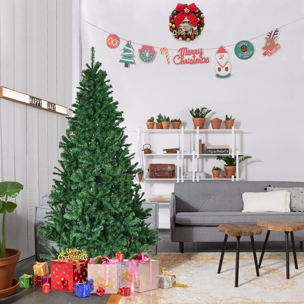 Goplus 1.5/1.8m 5'/6' Artificial Christmas Tree with Stand Holiday Indoor Outdoor Premium Hinged ...