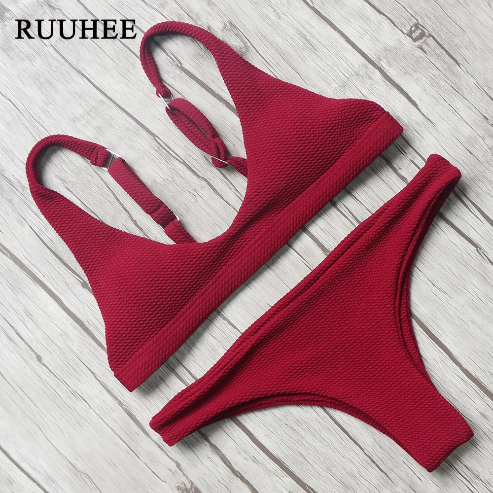 RUUHEE Bikini 2017 Sexy Swimsuit Women Halter Bandage Swimwear Female Thong Bikini Set Push Up Bathing Suit Beach Suit with Pad maheu 2017 sexy high neck halter thong bikini set push up women bandage hollow swimsuit swimwear female cut out bathing suit