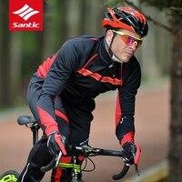 Santic Велоспорт Джерси комплект зима флис 2018 Для мужчин велосипед Джерси ветрозащитный Теплый Велосипедный Спорт Джерси Велосипедная форма