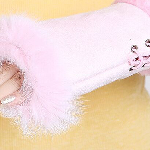 Womens Fashion Winter Warm Imitation Rabbit Hair Faux Leather Fingerless Gloves