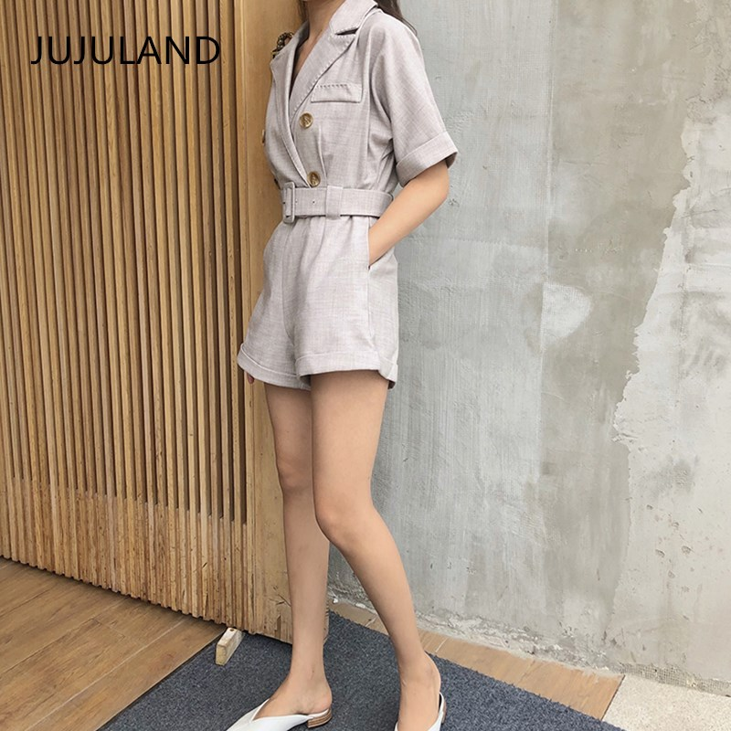 JUJULAND Ladies summer Casual Playsuits Button Fly Jumpsuits with Sashes thin suit fabrics Sweet Girl Softener cotton Overalls